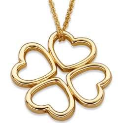 Goldtone Clover Heart Necklace