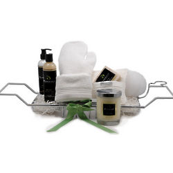 Organic Tub Caddy Luxury Holiday Gift Basket