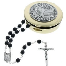 Confirmation Black Rosary with Etched Box