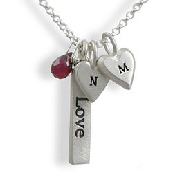 Personalized Love Bar and Initial Hearts Necklace