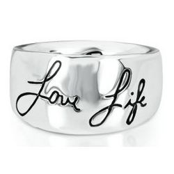 Sterling Silver Sentiments Love Life Ring