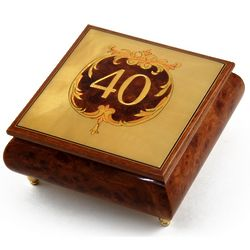 Handcrafted 30 Note Happy 40th Musical Jewelry Box