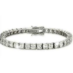 Sparkling Princess Cut Cubic Zirconia Tennis Bracelet