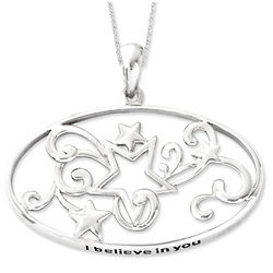 Sterling Silver Antiqued I Believe in You Star Necklace