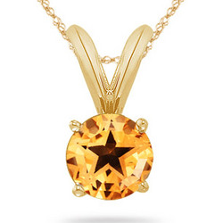 Citrine Solitaire Pendant in 14K Yellow Gold