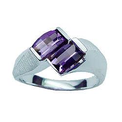 Twin Amethyst Barrel Cut Ladies Ring