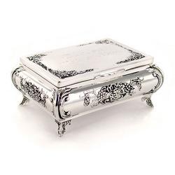 Personalized Antique Grape Design Silver Jewelry Box