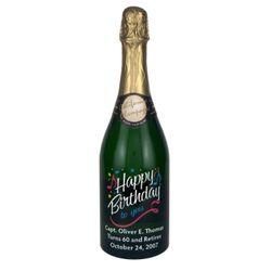 Happy Birthday Etched Wine Bottle
