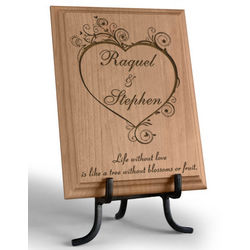 Personalized Blossoming Love Wooden Plaque
