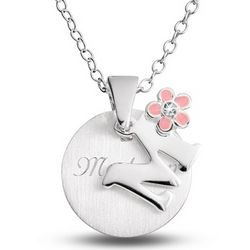 Girl's Initial Necklace with Flower Accent