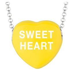 Sweet Heart Necklace with Yellow Enamel