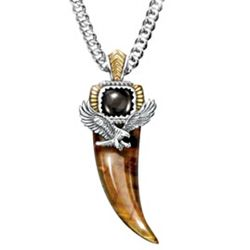 Majestic Power Tiger's Eye and Black Onyx Eagle Talon Necklace