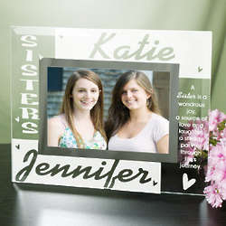 Personalized Sisters Glass Picture Frame