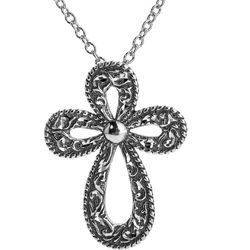 Diamond Cut Silver Cross Pendant on Chain