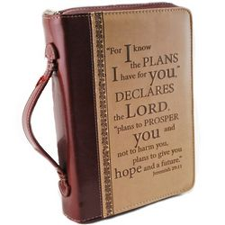 Large Lux Leather Bible Cover with Scripture Verse