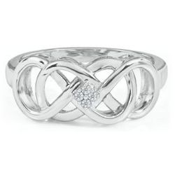 Infinity X Infinity Diamond Ring in Sterling Silver