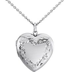 Floral Engraved Sterling Silver Heart Locket