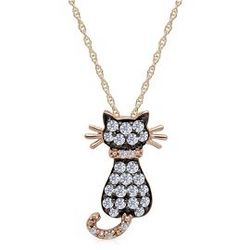 14K Gold Champagne and White Diamond Cat Pendant