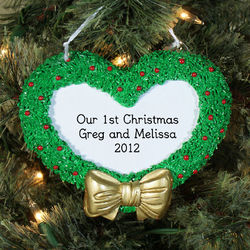 First Christmas Engraved Heart Wreath Ornament