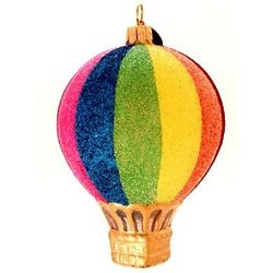 Striped Blown Glass Christmas Ornament