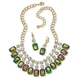 Emerald-Cut Mystic Crystal Bib Necklace and Earrings