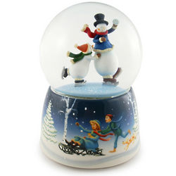 Christmas Skating Snowmen Musical Animated Snow Globe