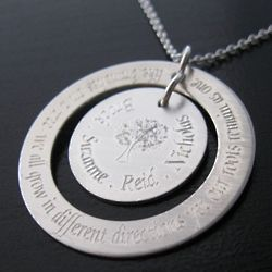 Personalized Sterling Silver Engraved Family Tree Necklace