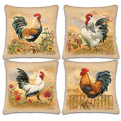 Country Charm Pillows with Rooster Art