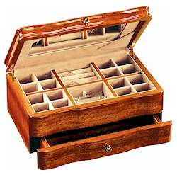 One Drawer Mahogany Jewelry Box