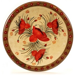 "Tuscan Poppies 16"" Decorative Plate"