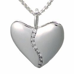 Medium 10 Diamond Silver Harmony Heart Pendant in Tin Box