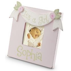 Hand Painted It's A Girl Picture Frame Gift