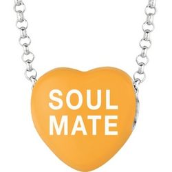 Orange Enamel Soul Mate Sweethearts Necklace