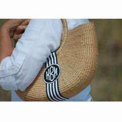 Monogrammed Basket Shoulder Bag