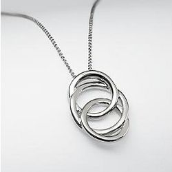 Sterling Silver Entwined Rings Pendant Necklace