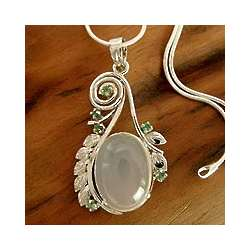 Enchanted Moon Moonstone and Emerald Necklace