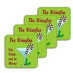 Personalized Eat Drink and be Merry Coasters