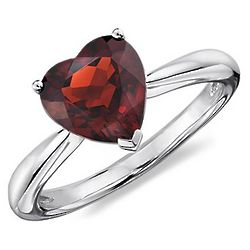 Sterling Silver Heart Garnet Ring