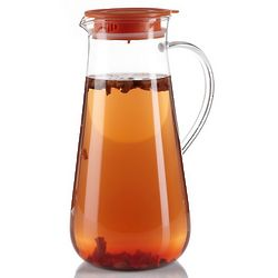 Iced Tea Glass Pitcher with Orange Lid