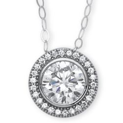 Round Cubic Zirconia Platinum-Plated Pendant and Chain