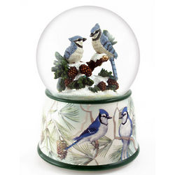 Winter Blue Jays Perch on a Snowy Branch Snow Globe