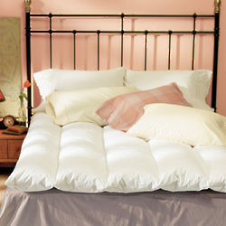 Quilted Baffle Box Feather Bed Topper in Twin