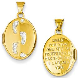 Footprints in the Sand Gold Locket