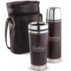 Excellence Leatherette Tumbler & Thermos Gift Set
