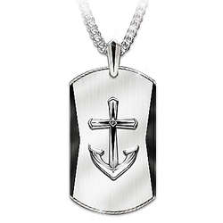 Anchor Cross Pendant for Grandson with Black Sapphire