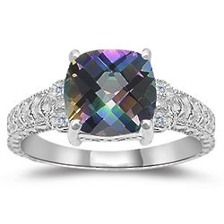 Mystic Topaz & Diamond Antique Filigree White Gold Ring