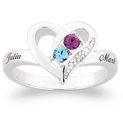 Silver Couple's Birthstone Heart Name Ring with Diamond Accent