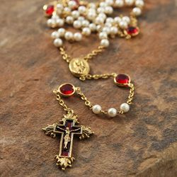 Siam Red Swarovski Crystal and Pearl Vatican Rosary