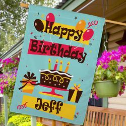 Personalized Happy Birthday House Flag