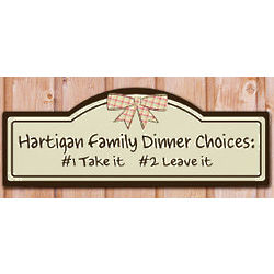 Family Dinner Choices Personalized Wall Sign
